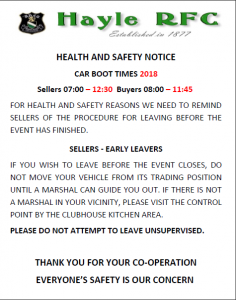 Hayle RFC Health and Safety Notice car boot