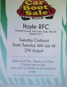 Hayle RFC car boot Tuesday