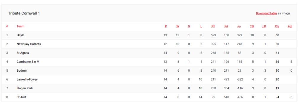 Hayle RFC League Tables